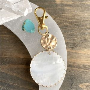 HUGE MOTHER OF PEARL GOLD KEYCHAIN CHARMS